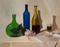 Three Bottles and Wine